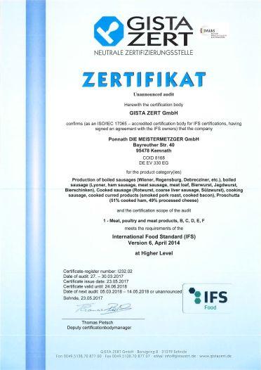 Zertifikat IFS (engl.)